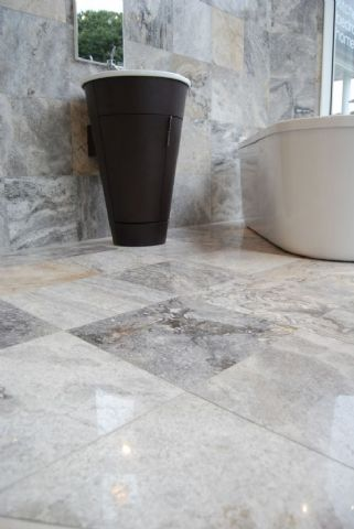 Pewter Travertine Polished and Filled Floor Tile