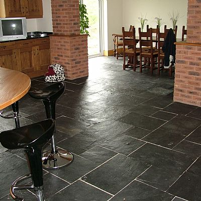 China Black Natural Slate Floor Tiles